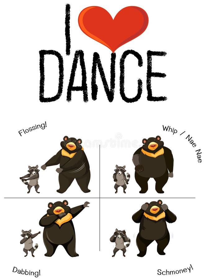 Ich liebe Tanzbären und -Waschbären lizenzfreie abbildung