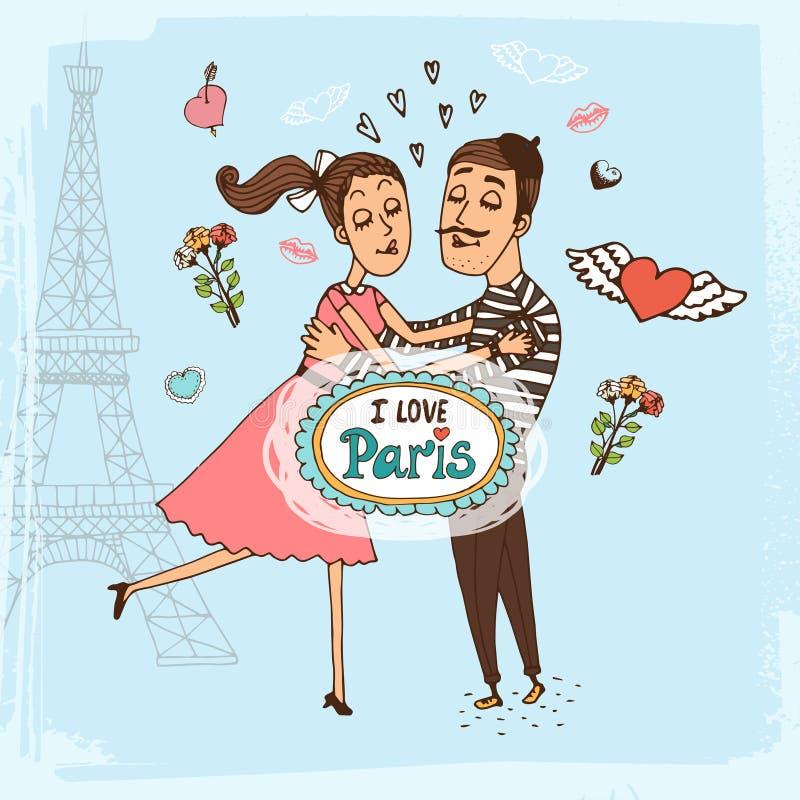 Ich liebe von Hand gezeichnete Illustration Paris lizenzfreie abbildung