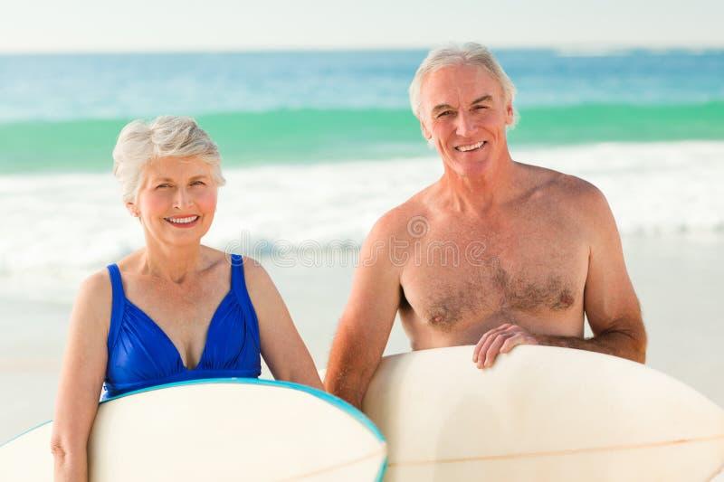 ich pary plażowy surfboard obraz royalty free