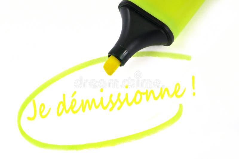 Ich trete geschrieben auf französisch zurück stock abbildung