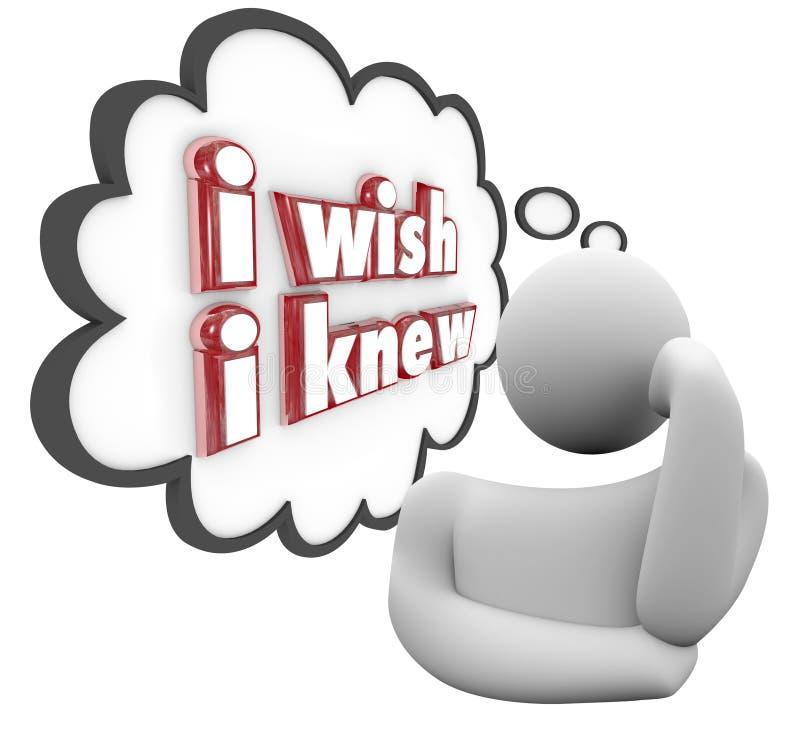 Ich wünsche, dass ich Person Thinking Thought Cloud Wondering-Frage K kannte lizenzfreie abbildung
