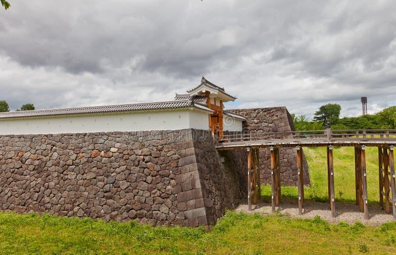 Ichimonji Gate of Main Bailey of Yamagata Castle, Japan. Reconstructed Otebashi Bridge 2005 and Ichimonji Gate 2014 of Main Bailey of Yamagata Castle founded in stock photo