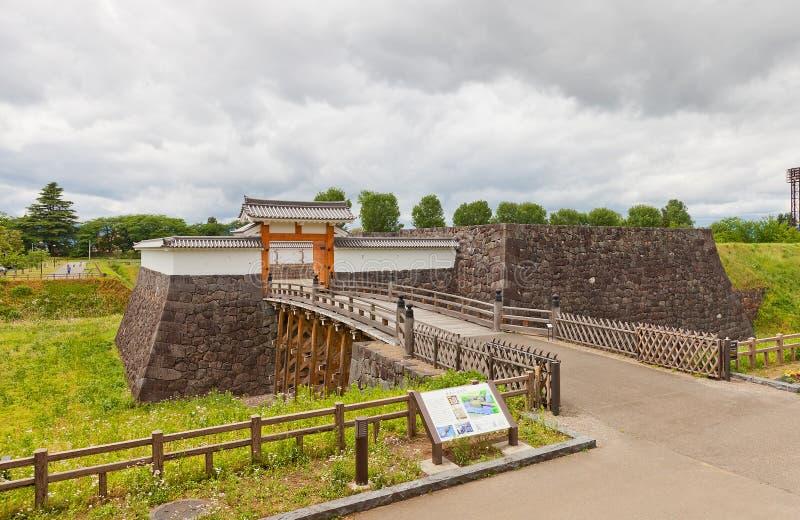 Ichimonji Gate of Main Bailey of Yamagata Castle, Japan. Reconstructed Otebashi Bridge 2005 and Ichimonji Gate 2014 of Main Bailey of Yamagata Castle founded in stock photos