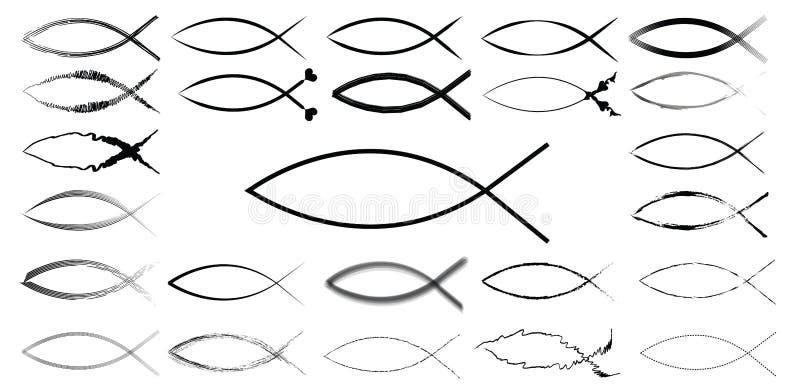ichthyic de vissenteken van Jesus vector illustratie