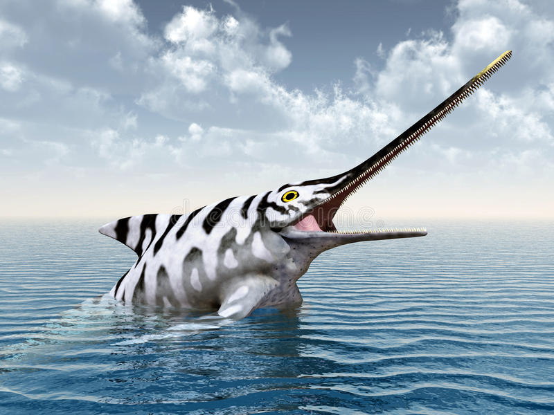 Ichthyosaur Eurhinosaurus stock de ilustración