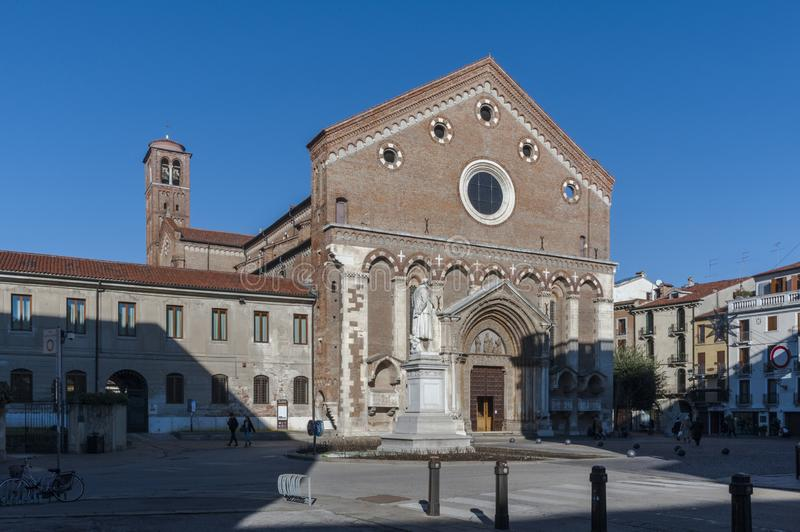 Church of San Lorenzo, a Catholic place of worship in Vicenza, built in the Gothic style at the end of the 13th century - Vicenza. VICENZA, ITALY - DECEMBER 29 royalty free stock image