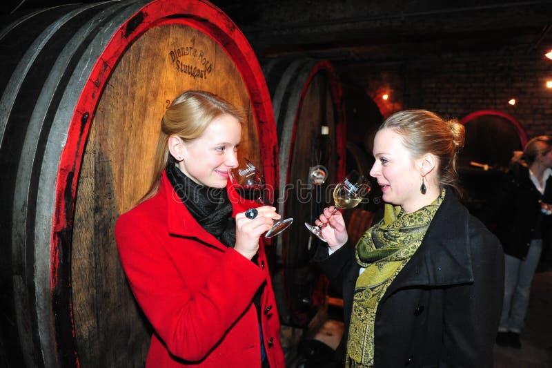 Ichvrouw die rode wijn proeven royalty-vrije stock foto