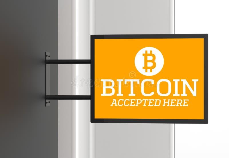 Ici enseigne admise par bitcoin élégant illustration 3D illustration stock