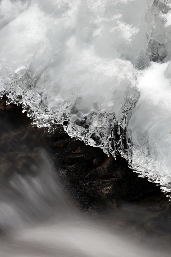 Icicle Above Flowing Water royalty free stock image