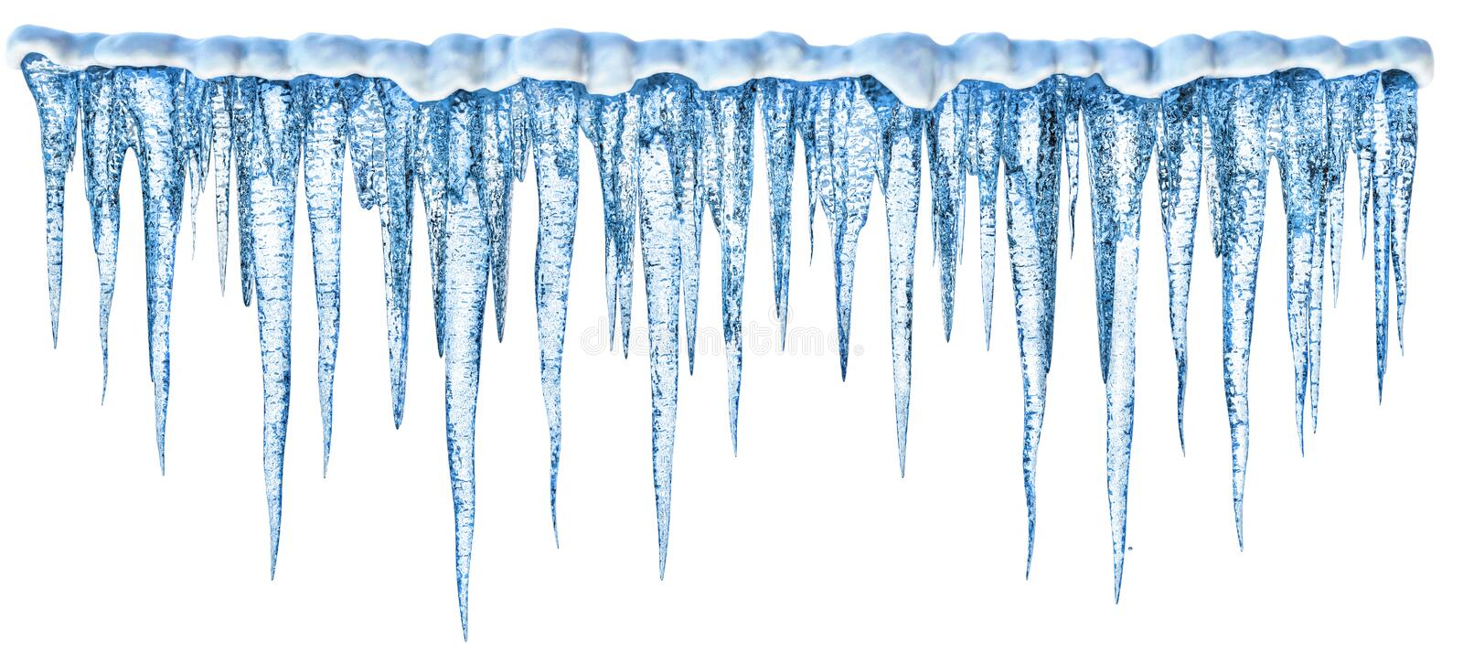 Icicles. Blue cold icicles with on a white background. More my images of decorating winter elemets- dreamstime.com/lightbox_det.php?id=2269484
