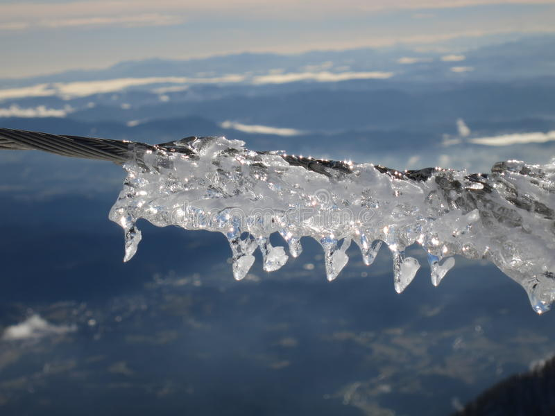 Icicles on cable 2 stock image