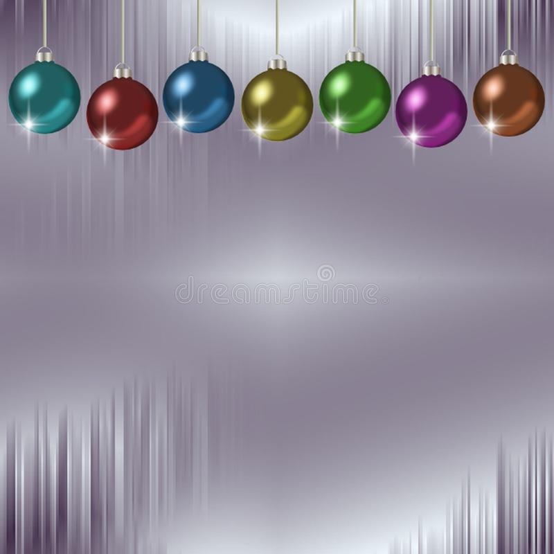 Icicles and hanging colorful set of Christmas ornaments royalty free illustration