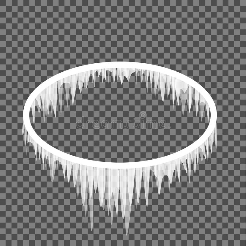 Icicles hanging from an oval frame. Oval frame in icicles on a transparent background. Ellipse shape winter frost template vector illustration