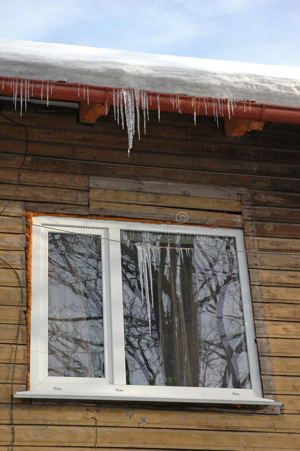 Download Icicles Hanging From Roof On House Stock Image - Image: 13097869