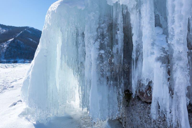 Icicles of Lake Baikal. View of icicles on Lake Baikal, Siberia, Russia stock image