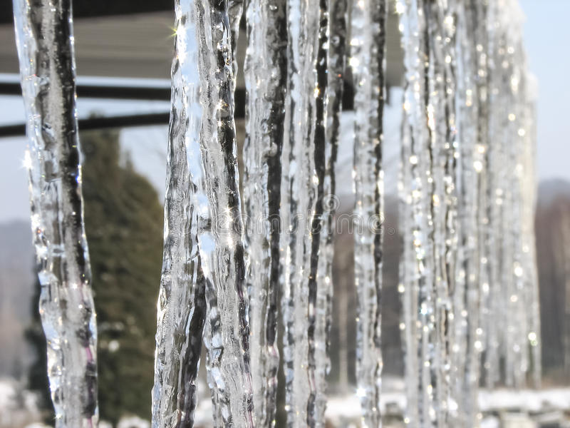 Icicles. Lit by soft light of the rising sun stock photo