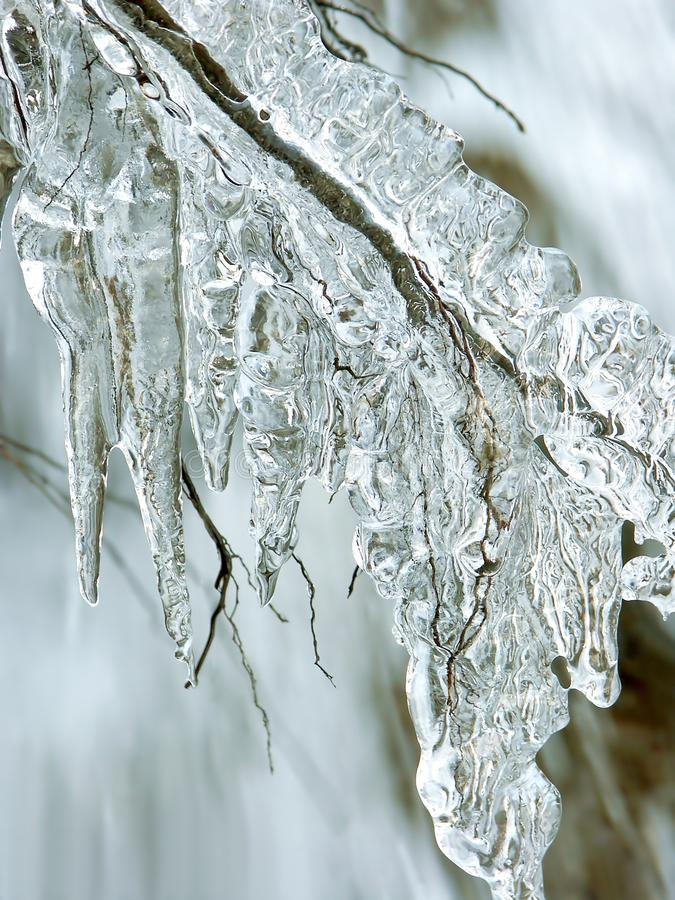Icicles from melting snow in winter stock photo