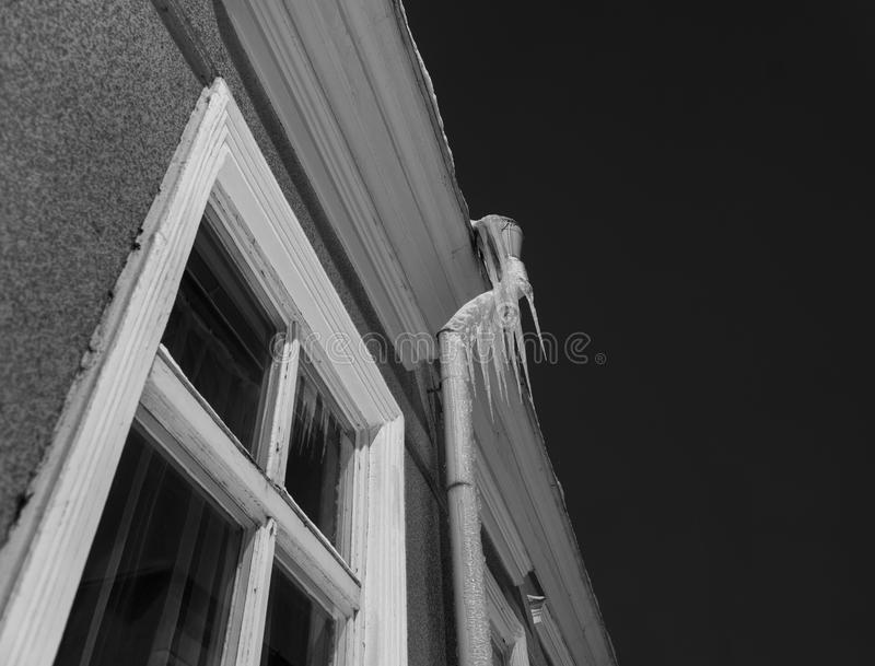 Icicles on pipe stock images
