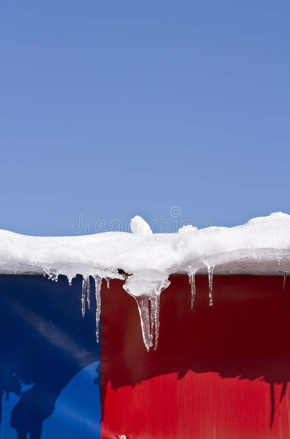 Download Icicles on a roof stock image. Image of white, snow, hanging - 23189275