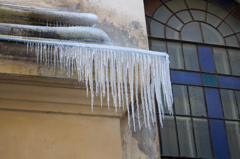 Icicles from the roof royalty free stock photography