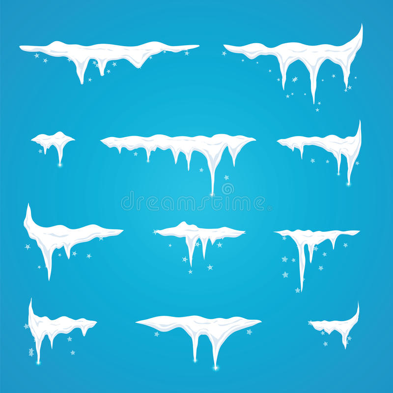 Icicles set on site menu bar and buttons. New year snowflakes de. Coration kit for website. Snow caps stock illustration