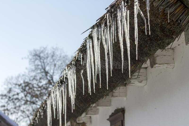 Icicles on a thatch. Of a traditional cottage house in Ocsa, Hungary stock photography