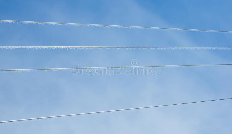 Icicles On The Wires After Freezing Rain Stock Image