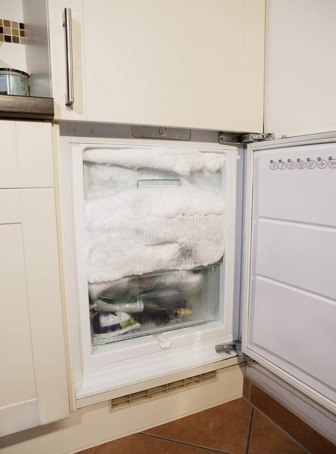 Icing freezer. A defective freezer ice forms and increases the power consumption royalty free stock photos