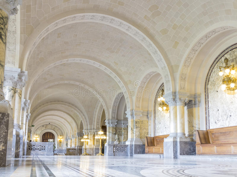 ICJ Main Hall of the Peace Palace, The Hague. Main Hall of the Peace Palace Seat of the International Court of Justice, principal organ of the United Nations and royalty free stock image