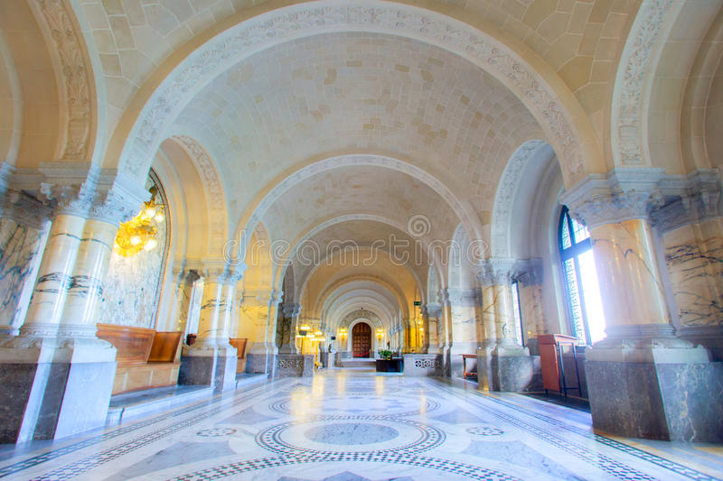 ICJ Main Hall of the Peace Palace, The Hague. Main Hall of the Peace Palace Seat of the International Court of Justice, principal organ of the United Nations and royalty free stock photo