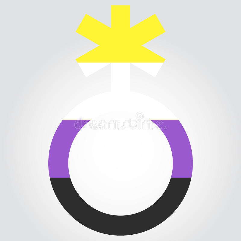 Icke-binär stolthetflagga i en form av det nonbinary symbolet royaltyfri illustrationer
