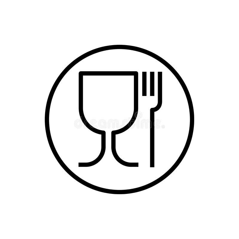 Icke-gift materiellt symbol, exponeringsglas och gaffel vektor vektor illustrationer