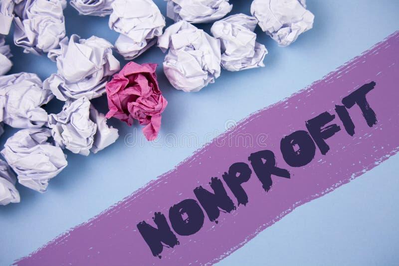 Icke-vinstdrivande ordhandstiltext Affärsidé för aktiviteter som inte frambringar intäkter till den skriftliga testamentsexekutor arkivbilder