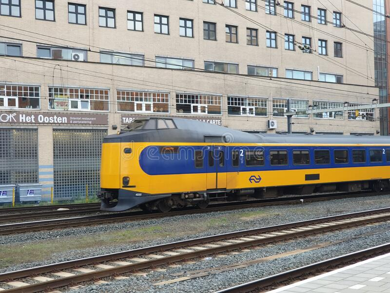 ICM intercity type Koploper at amersfoort centraal station on railroad track royalty free stock images