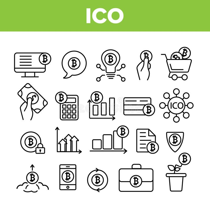 ICO,Bitcoin导航稀薄的线象集合 皇族释放例证