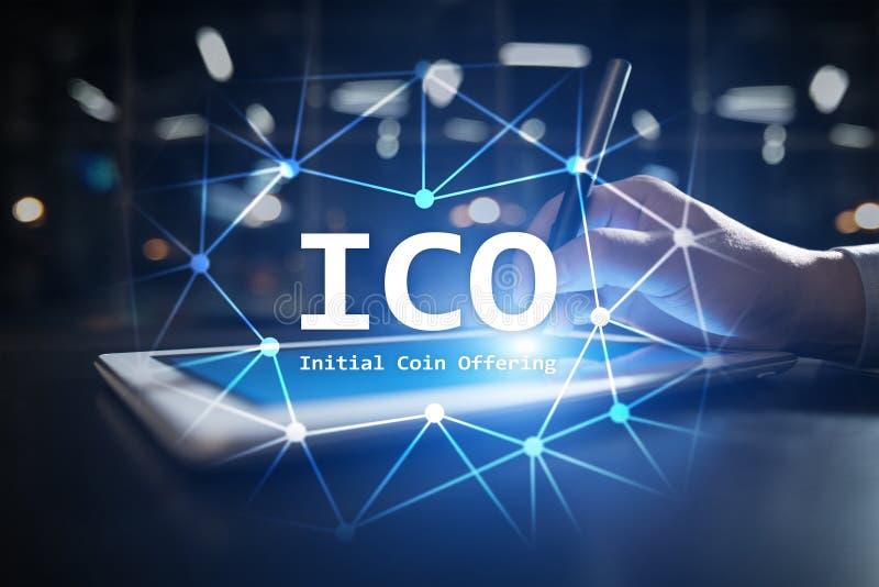 ICO - Начальный предлагать монетки Cryptocurrency, FINTECH, финансовый рынок и торговать Инвестиция иллюстрация вектора