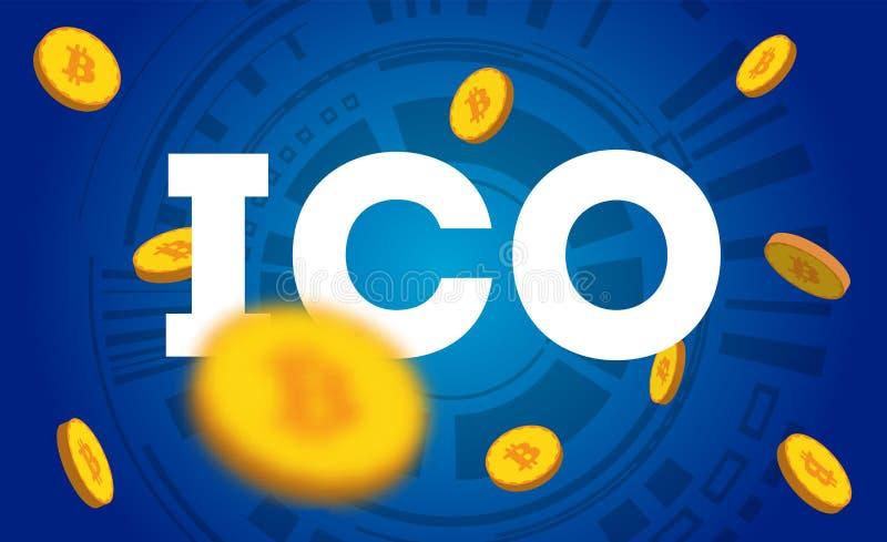 ICO -最初硬币提供 ICO象征概念 新闻的,介绍,社会媒介,博克例证 库存图片