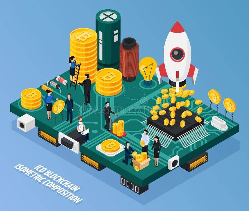 ICO Blockchain Isometric Composition vector illustration