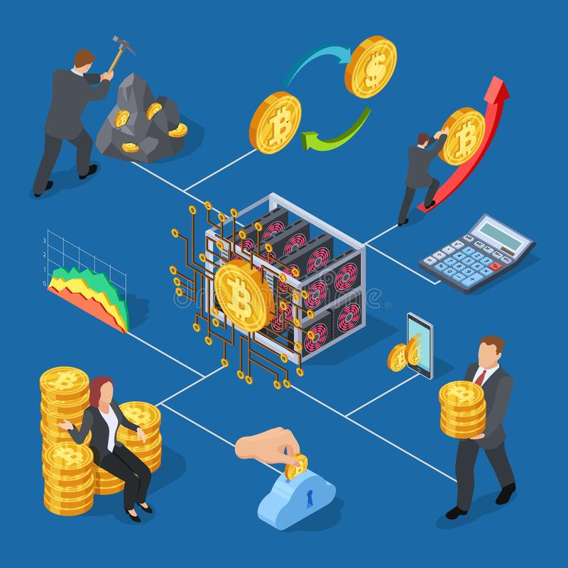 Ico and blockchain isometric icons. Bitcoin mining and cryptocurrency exchange vector illustration royalty free illustration