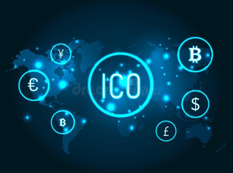 Ico e iconos de las monedas con vector del mapa del globo ilustración del vector