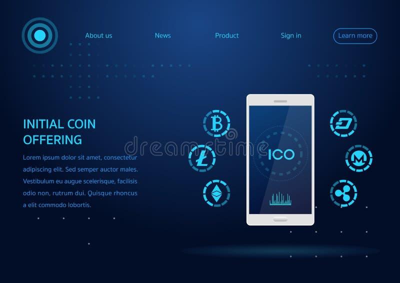 ico erbjudande webpagedesign för initialt mynt vektor illustrationer