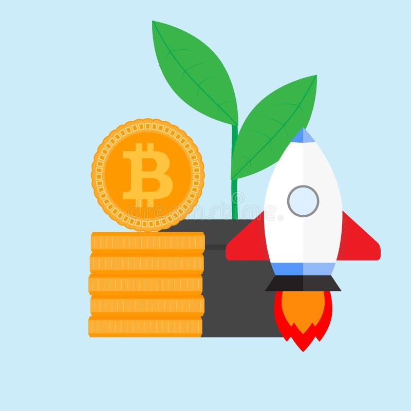 Ico et lancent le crypto projet illustration de vecteur