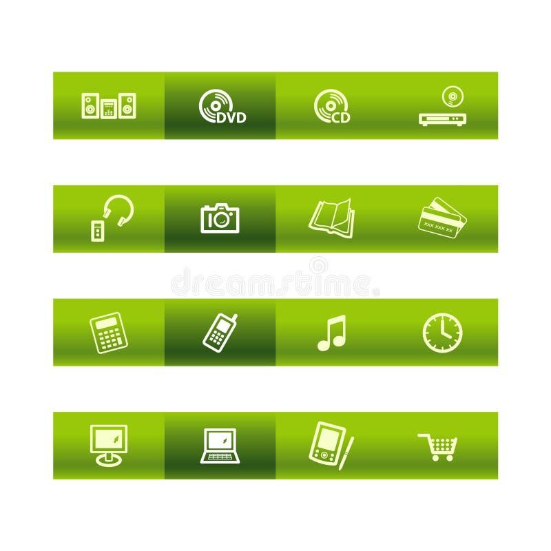 ico för utgångspunkt för stångelektronikgreen royaltyfri illustrationer