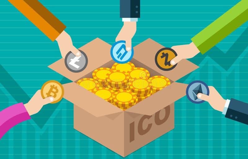 ICO inicjału moneta Oferuje Bitcoin Cyfrowy Elektroniczną walutę Pieniężny żeton Wekslowy Gromadzi fundusze pojęcie royalty ilustracja