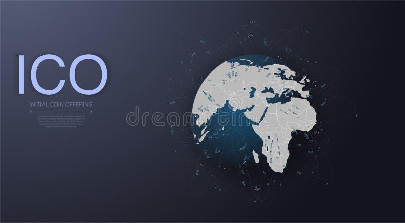ICO inicjału moneta oferuje futurystycznego hud tło z światową mapą i blockchain my przyglądamy się przyglądać się sieć ilustracja wektor