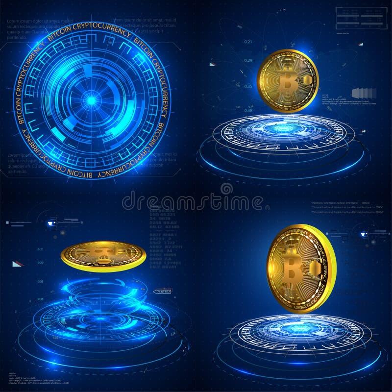 ICO inicjału moneta oferuje futurystycznego hud tło z bitcoin i wykresem royalty ilustracja
