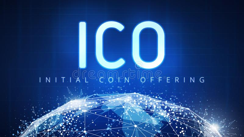 ICO initial coin offering banner. stock illustration