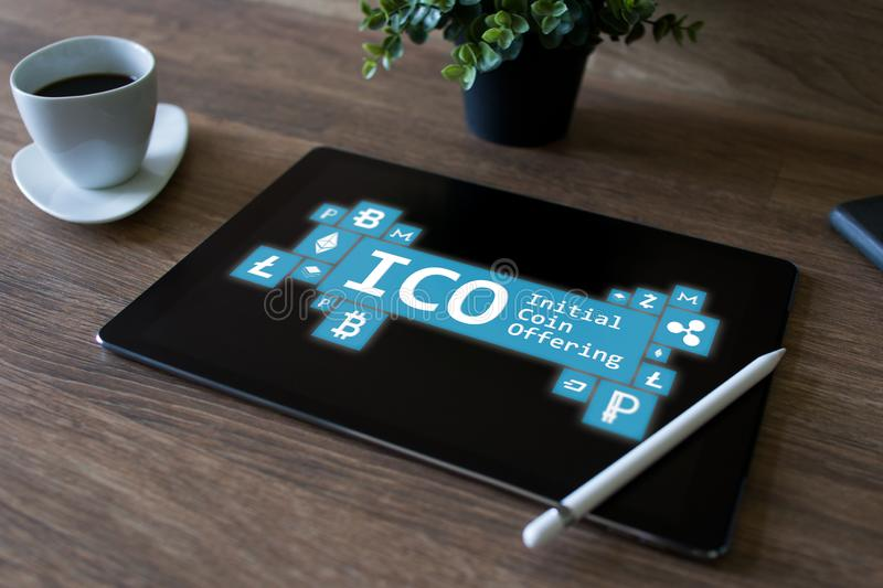 ICO - initial coin offering. Cryptocurrency, Blockchain. Fintech, modern financial technology concept. ICO - initial coin offering. Cryptocurrency, Blockchain stock images