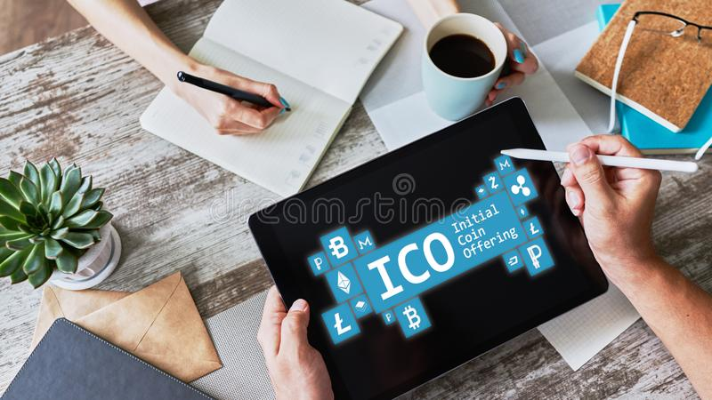 ICO - initial coin offering. Cryptocurrency, Blockchain. Fintech, modern financial technology concept. ICO - initial coin offering. Cryptocurrency, Blockchain royalty free stock photos