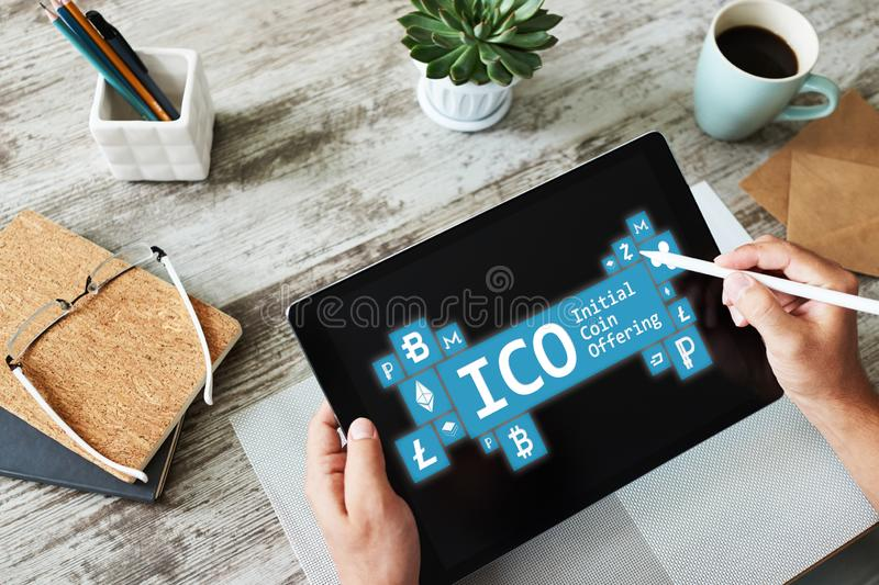 ICO - initial coin offering. Cryptocurrency, Blockchain. Fintech, modern financial technology concept. ICO - initial coin offering. Cryptocurrency, Blockchain royalty free stock photography